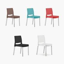 Stol Joi, 5 farger, plast/alu, stablebar