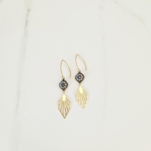 Gold Leaf with Flower Earrings Upcycled