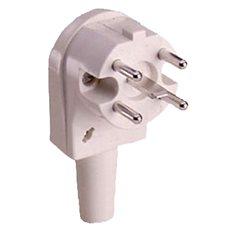 400V Perilex 16A Vit, Vinklad Stickpropp med kabel