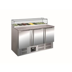 Saro Pizzakylbänk PS 300 G, 1/6 ränna, Glastopp, 0,23kW, 444 L