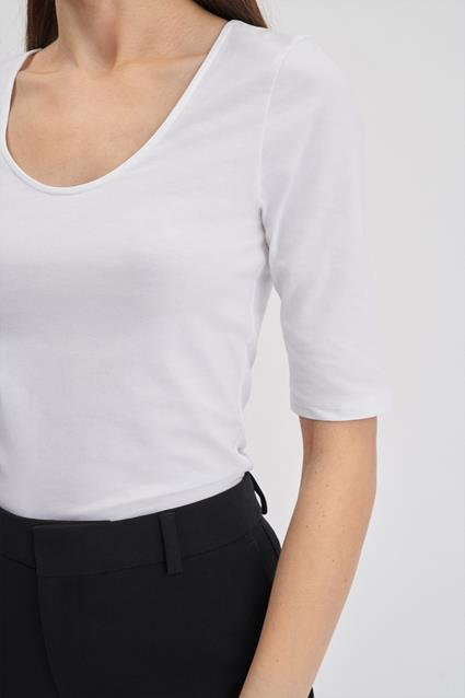 Cotton Stretch Scoop Neck Top