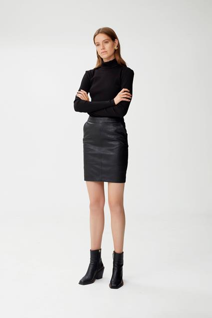 Char Leather Skirt