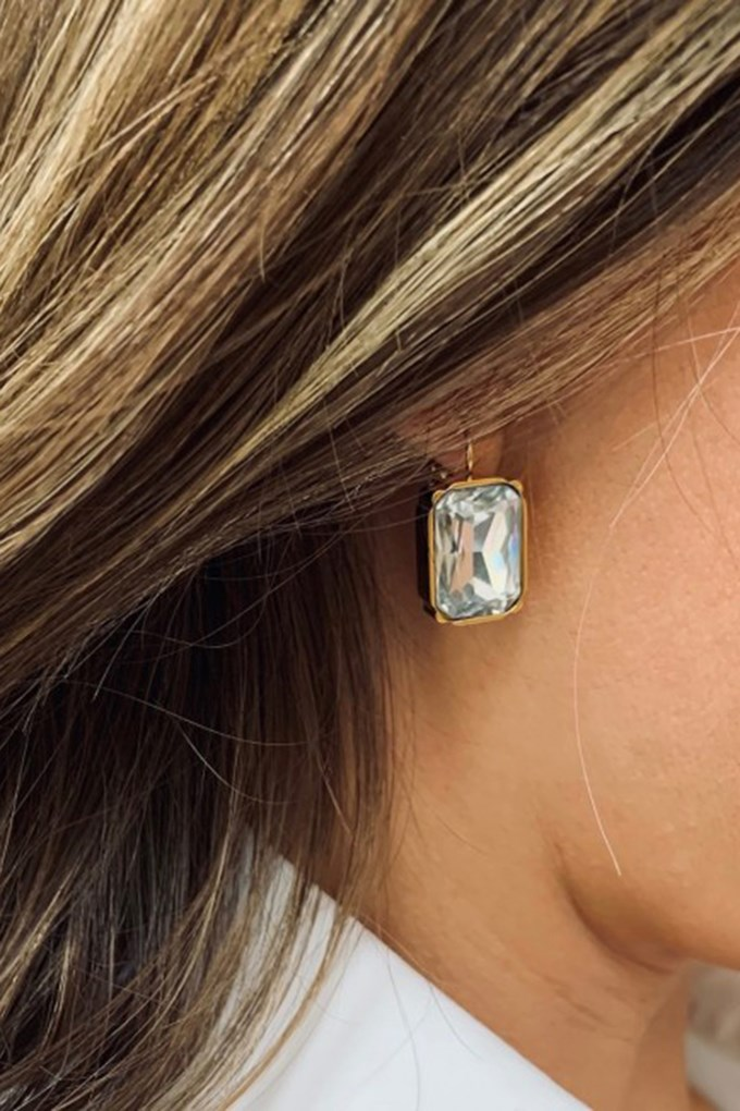 Grace Large Earring Clear/Gold