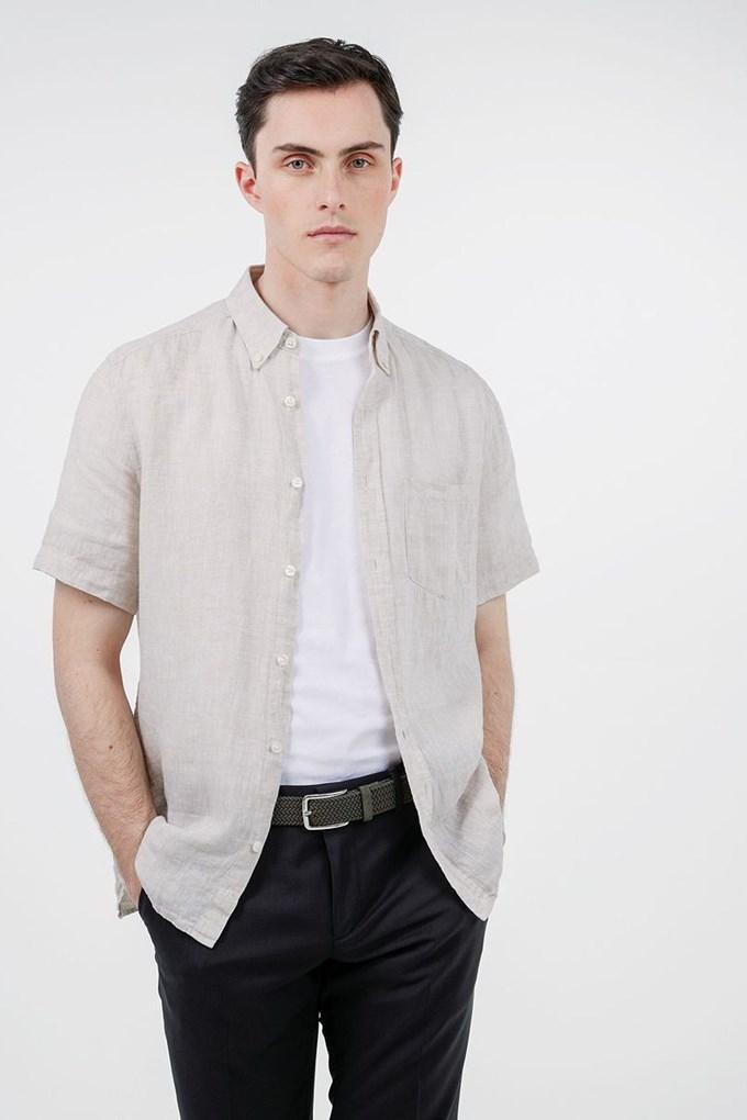 Linen Melange SS Slim Shirt