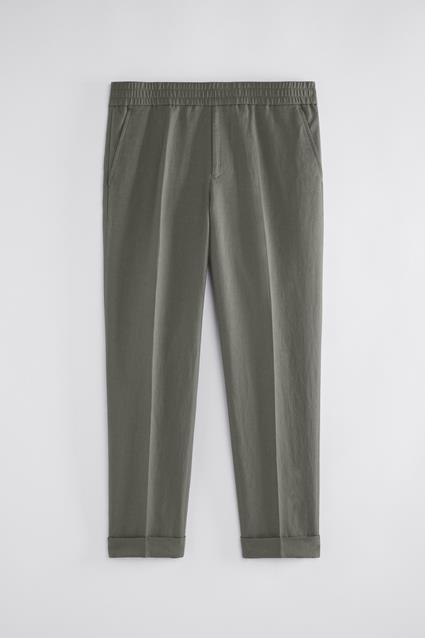Terry Cropped Linen Slacks