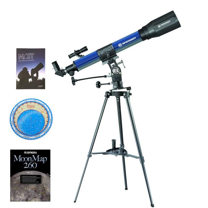 Bresser Komplettpaket 70/900 EL refraktorteleskop med mycket tillbehör