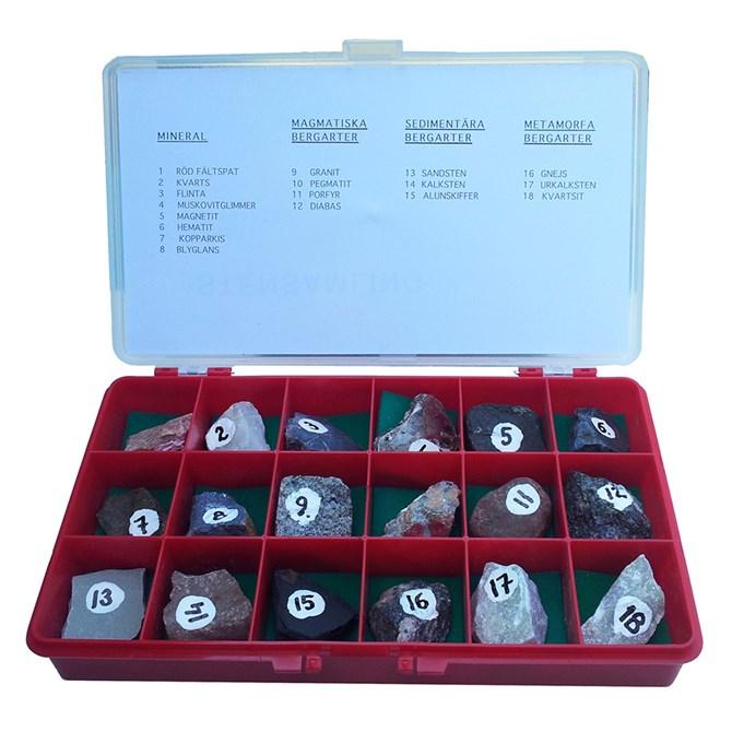 Mineraler och Bergarter - 18 st