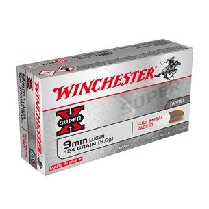 Winchester 9mm Super X, 124gr FMJ 500/LÅDA