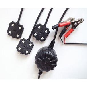 Gyttorp åtelbelysning 3st LED med Batteriklämmor och relä.