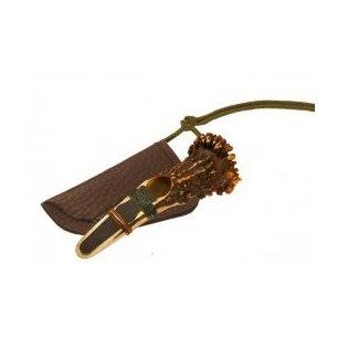 Lockpipa rådjur i horn och rosenkrans med läderfodral