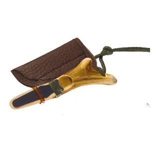 Lockpipa rådjur i horn med läderfodral