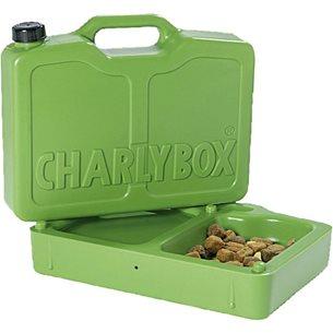 Foderbox för hund, delbar, 2 skålar. m vattenbehållare 2 liter