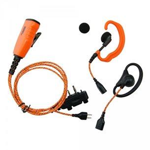 Headset och mikrofon, tygkabel, vinklad skruvkontakt, orange med PPT-knapp 3-i-1
