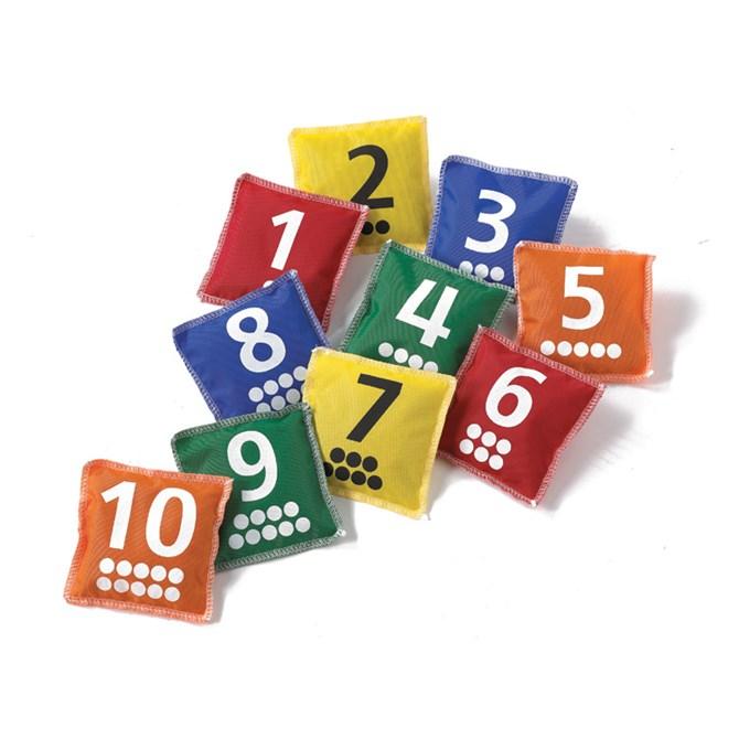 Ärtpåsar med siffror och prickar