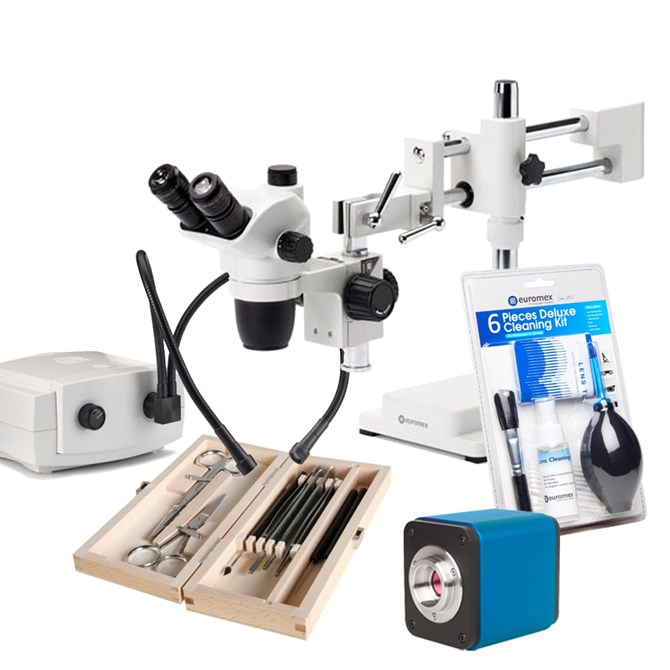 Stereomikroskop/fotopaket Zoom - stereolupp för provanalys eller disektion