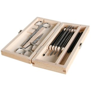 9-delars dissektionskit i träetui - för mikroskoppreparat m.m.