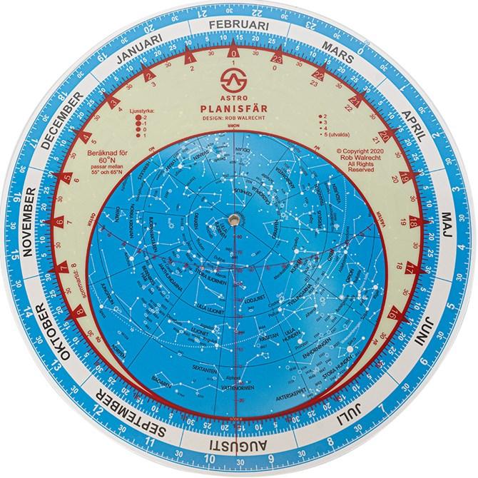 Planisfär för 60° nordlig bredd