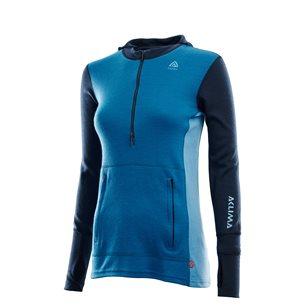 Aclima WarmWool Hoodsweater Zip Woman Blue Sapphire/Navy/Azure