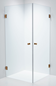 Duschbyggarna Brusehjørne Twin Design 900 x 900 Beslag Kobber