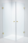 Duschbyggarna Brusehjørne Twin Design 700 x 900 Beslag Guld