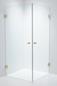 Duschbyggarna Brusehjørne Twin Design 700 x 800 Beslag Guld