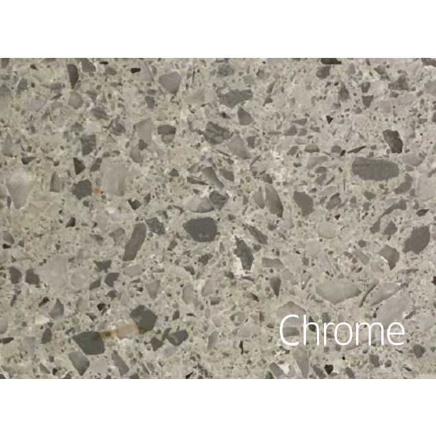 Hafa Edge Bordplade 1610X462X12 h hul Chrome Suede