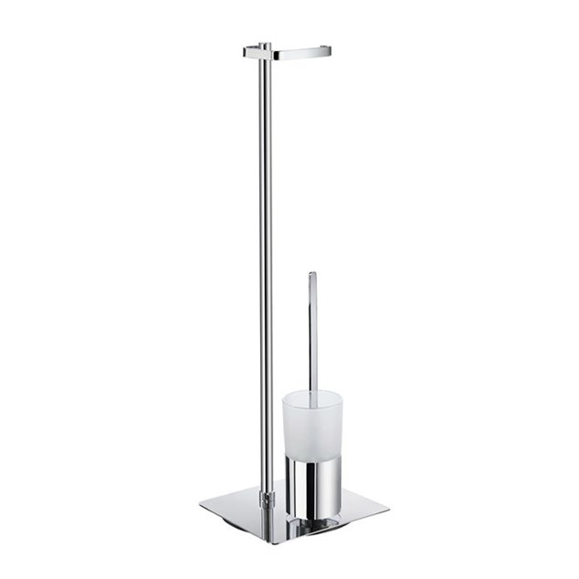 Smedbo Outline Toiletpapirholder/Toiletbørste Krom/Glas