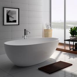 Bathlife Badekar Monte S06 Støbt Marmor - Hvidt 1690 mm