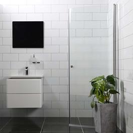 Bathlife Brusedør Mångsidig 45° Rund - Delvist Frostet Glas