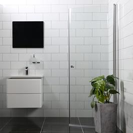 Bathlife Brusedør Mångsidig 45° Rund - Klart Glas