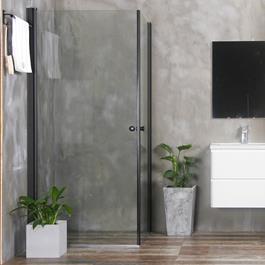 Bathlife Brusehjørne Mångsidig Rak Sort Klart Glas