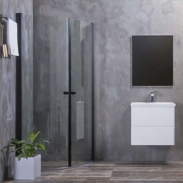 Bathlife Brusehjørne Mångsidig Rund Dør 45° 700x1000 mm Sort - Klart Glas