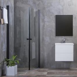 Bathlife Brusehjørne Mångsidig Rund Dør 45° 700x900 mm Sort - Klart Glas