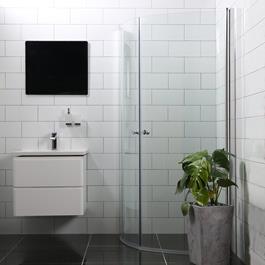 Bathlife Brusehjørne Mångsidig Rund Dør 45° 900 + Rund Dør 45° 1000 - Klart Glas