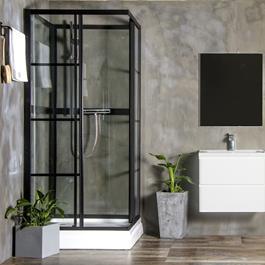 Bathlife Brusekabine Betrakta 90x90 Lige R/W Klart Glas - Sort/Hvid