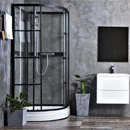 Bathlife Brusekabine Betrakta 90x90 Rund C/W Klart Glas - Sort/Hvid