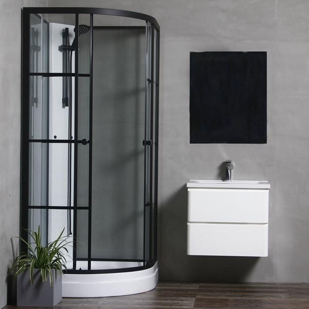 Bathlife Brusekabine Betrakta 90x90 - Sort/Hvid