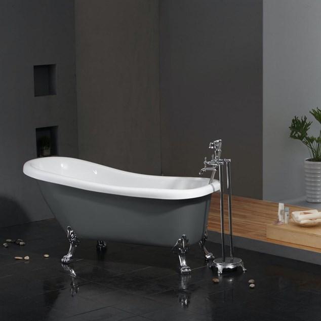 Bathlife Badekar Ideal m Løvefødder - Grå/ Krom 1530 mm