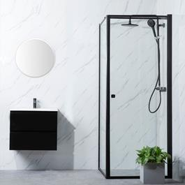 Bathlife Brusehjørne Profil Lige Væg + Lige Dør - Sort/Klart Glas