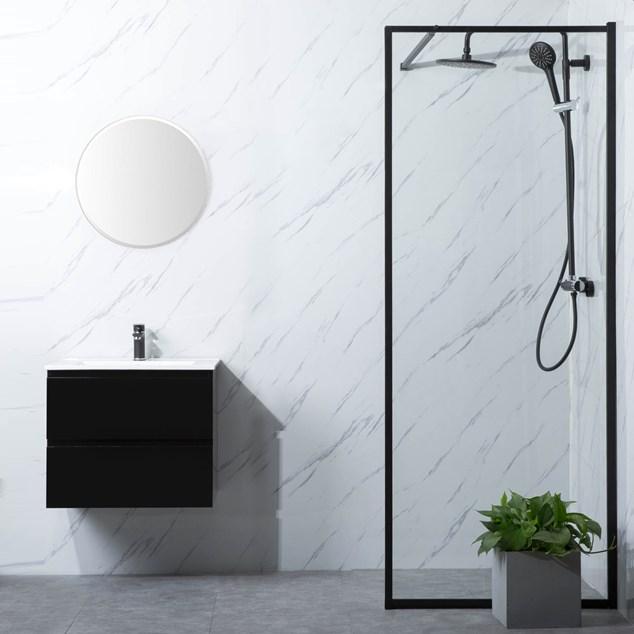 Bathlife Brusevæg Profil P/P Klart glas Sort