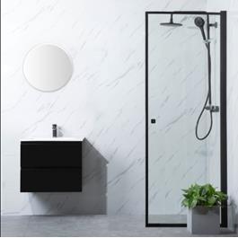 Bathlife Brusedør Profil S/P Klart glas Sort