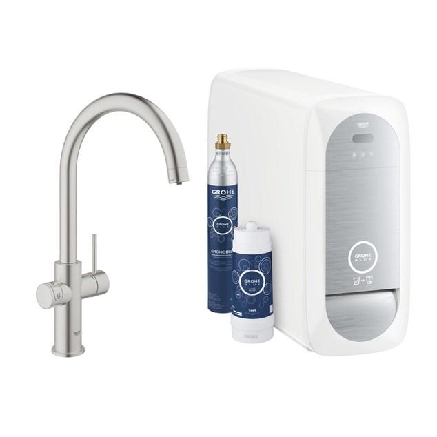 Grohe Køkkenarmatur Blue Home  Startsæt med filtrering, køling og kolsyre.
