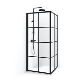 Macro Design Empire Swing Brusehjørne Sprosse Sort Klart Glas