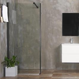 Bathlife Brusevæg Mångsidig Rak Sort - Lige Væg Klart Glas