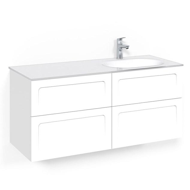Macro Design Vaskeskab Crown Shape Med Håndvask i glas