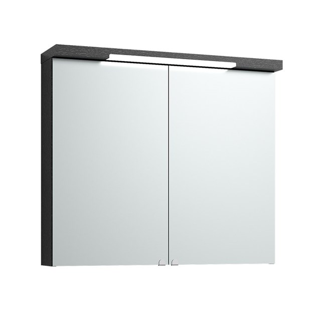 Svedbergs Spejlskab Top-Line 80 Sort Bejdset  Eg LED