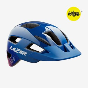 Cykelhjälm Lazer Gekko MIPS Blue Pink, grönt spänne