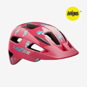 Cykelhjälm Lazer Lil'Gekko MIPS Pink Sea Pony, grönt spänne