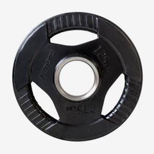 FitNord Viktskiva Gummerad Tri Grip Black 1,25 kg