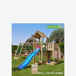 Jungle Gym Mansion lektorn komplett inkl. Climb Modul Xtra, sand och r